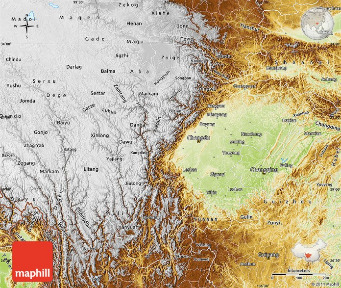 Physical map of Sichuan.