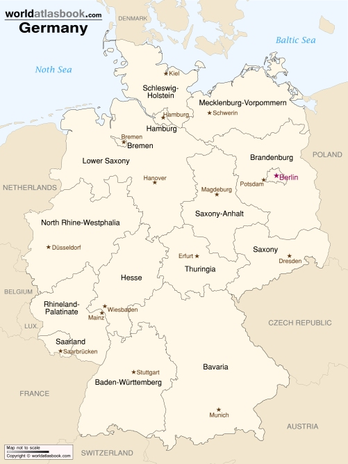 germany regions map printable