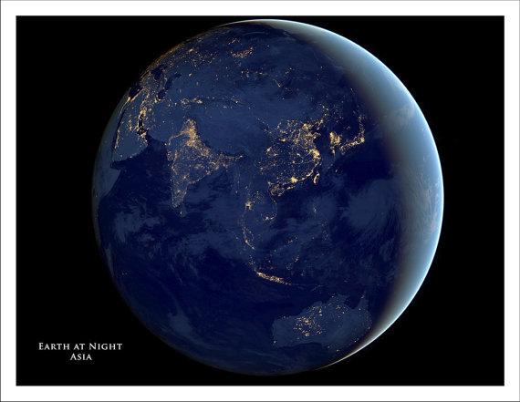 world map at night
